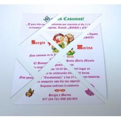 """Invitación de boda tangram """"Duendes"""""""