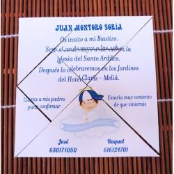 Divertida Invitación de bautizo tangram