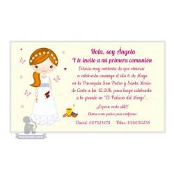 Invitación de Primera Comunión chica rubia