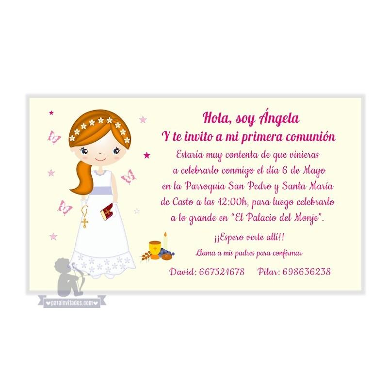 invitaciones de primera comunion para nina