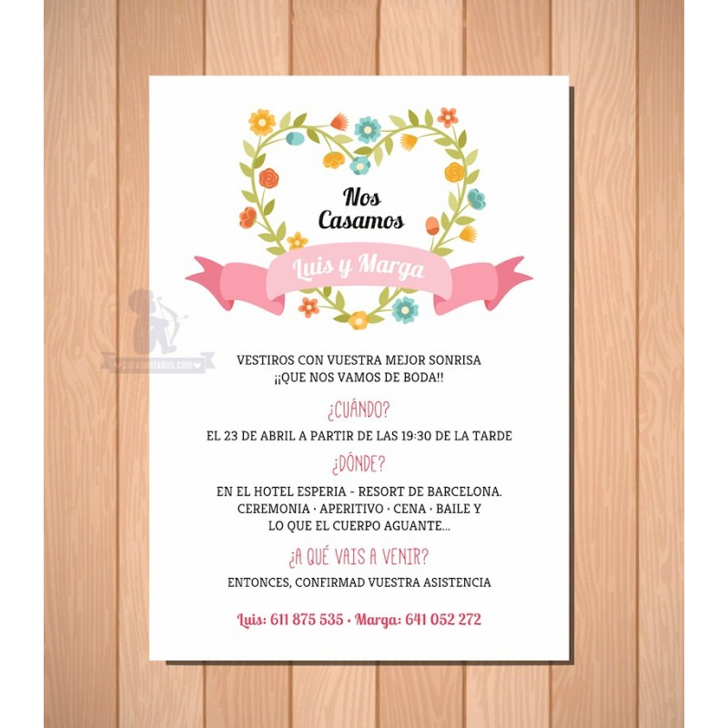 Invitaciones Florales de Boda