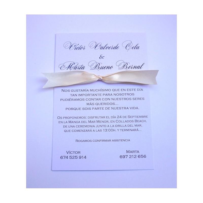 Invitación cinta marfil