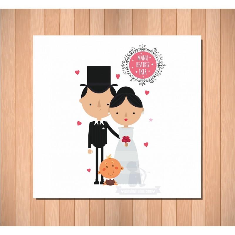 Invitación de boda papas pareja feliz