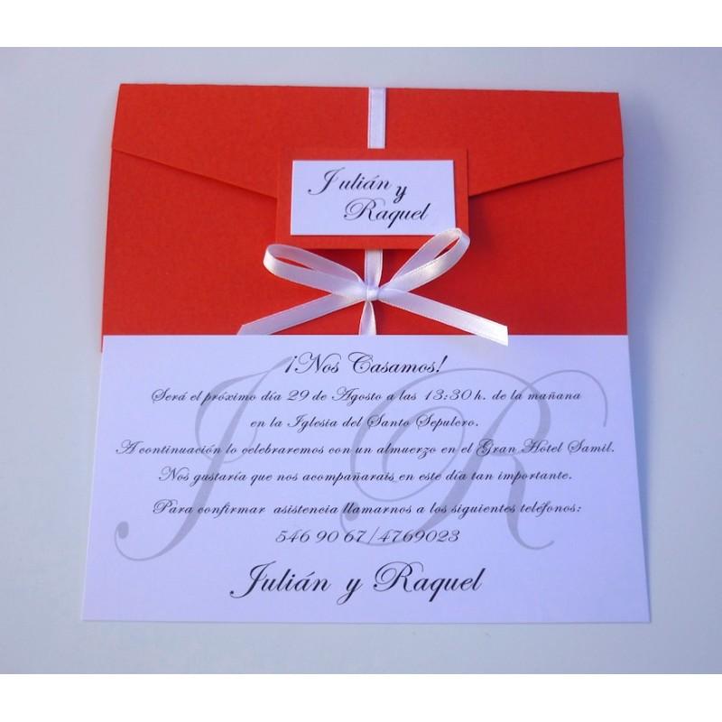 Invitación de boda tríptico rojo 2