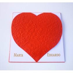 Invitación de boda Corazón grabado