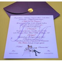 Tarjetón de boda Beso novia