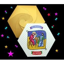 Felicitación de Navidad sobre hexagonal