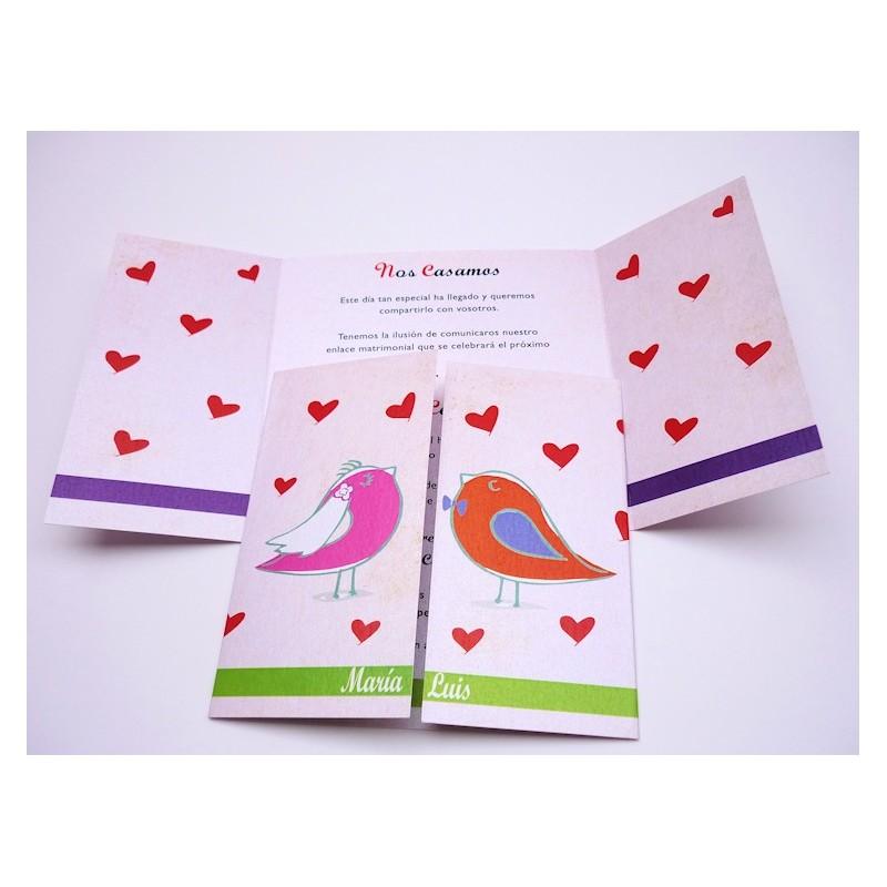 Invitación de boda pareja pájaros