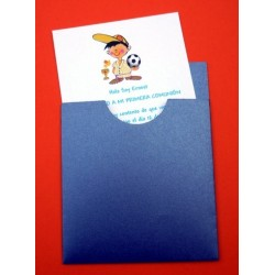 Invitación de comunión funda azul