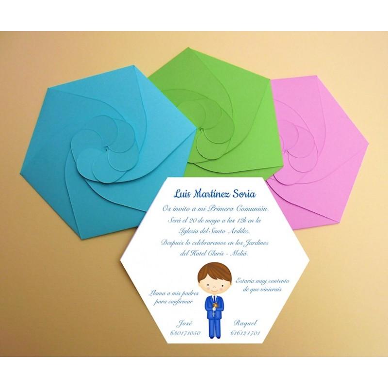 Invitación primera Comunión hexagonal niña