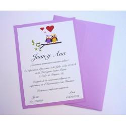 Invitación de boda actual y original tono violeta