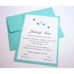 Invitación de boda tonos azul pastel