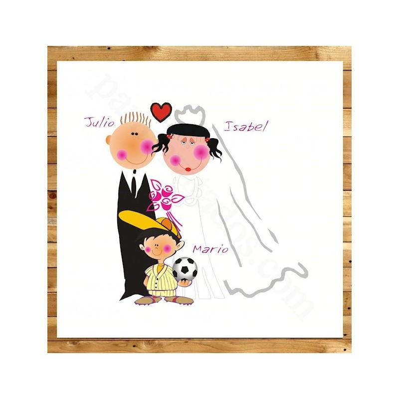 Invitaciones de boda Novios con niño