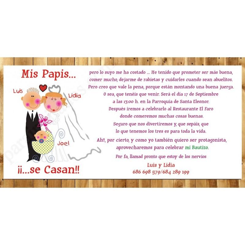 Invitación de Boda Mis papas Boda y Bautizo con niño