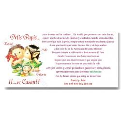 Tarjetón de boda Mis Papis se casan con Duendes