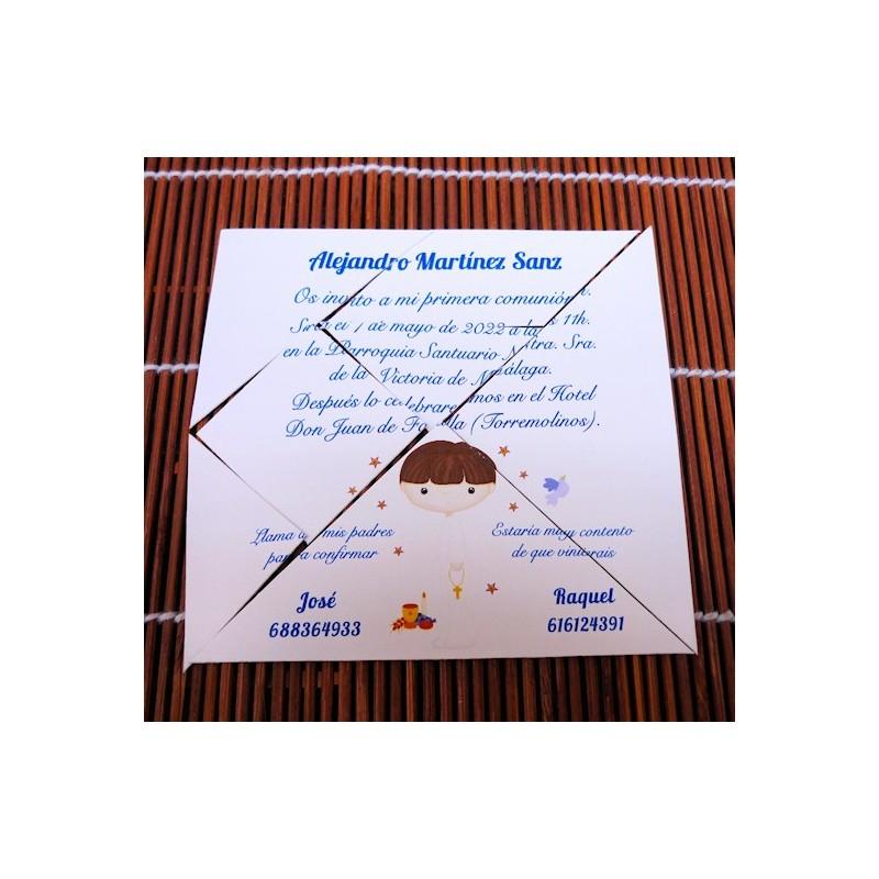Invitación de Primera Comunión Tangram