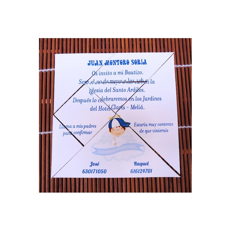 Invitación de bautizo tangram