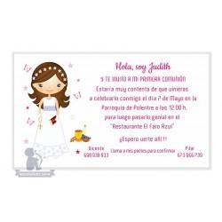 Invitación para Primera Comunión chica morena