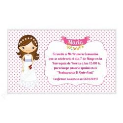Invitación de comunión personalizada para niña