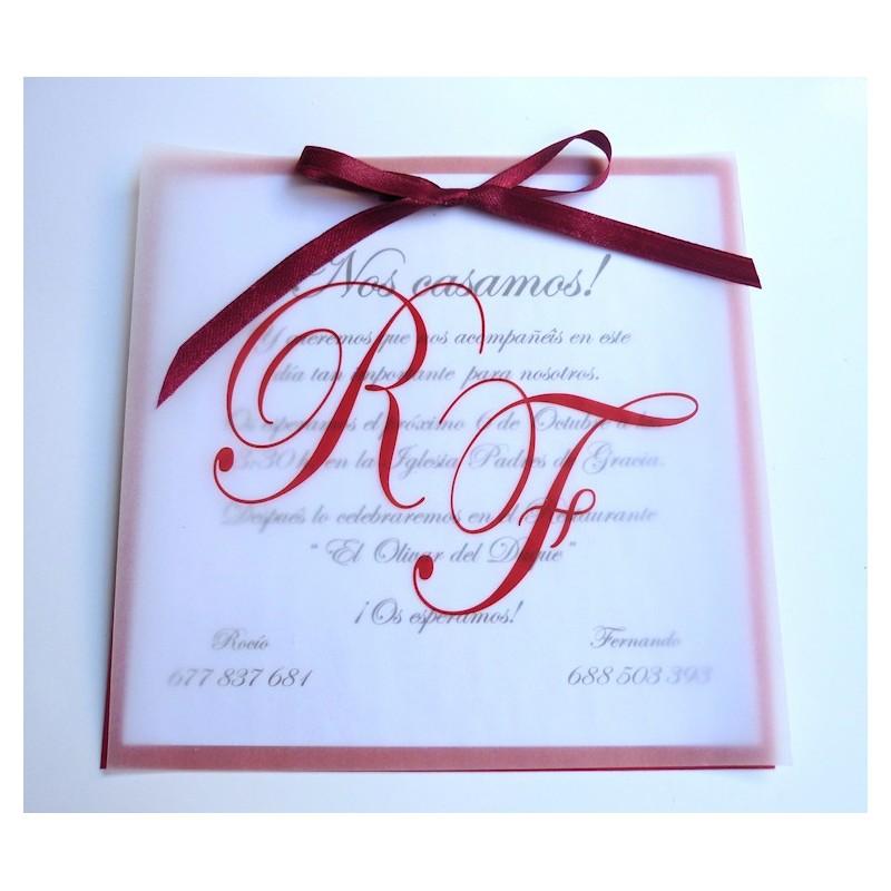 Invitación de boda Papel Vegetal