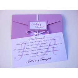 Invitación de boda tríptico lila 2