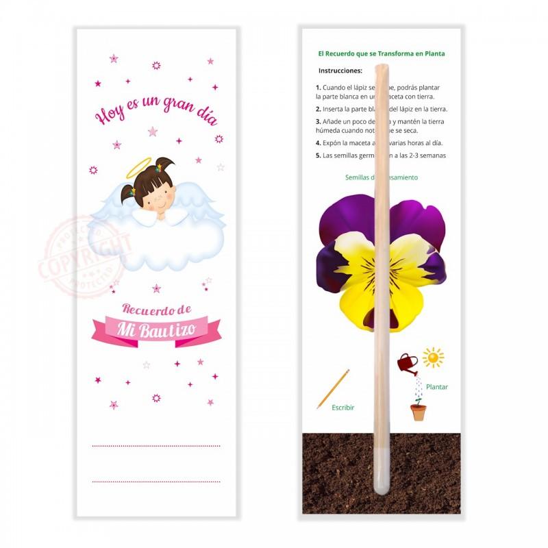 Detalles y Recuerdos Para Invitados de Bautizo Llenos de Vida - Lápiz Con Semillas de Para Plantar y Marcapáginas -