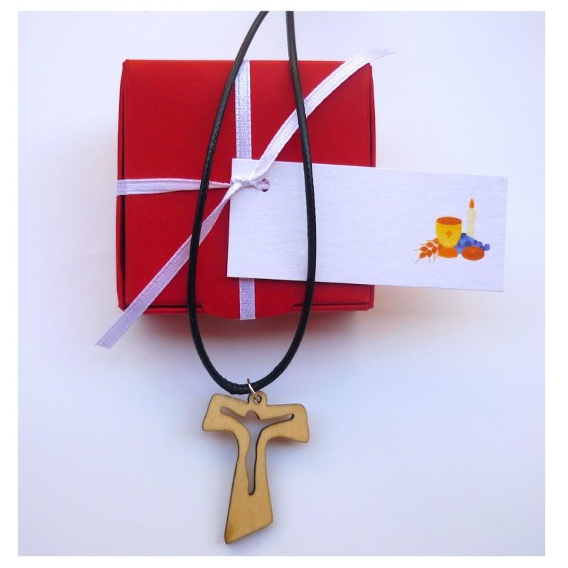 Original Colgante Cruz Madera para Comunión