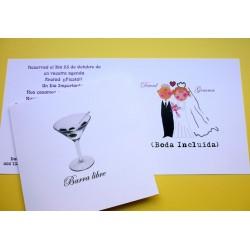 """Invitaciones para boda """"Barra Libre"""""""