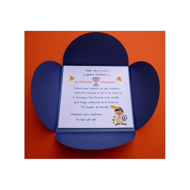 Invitación de comunión con sobre pétalo azul