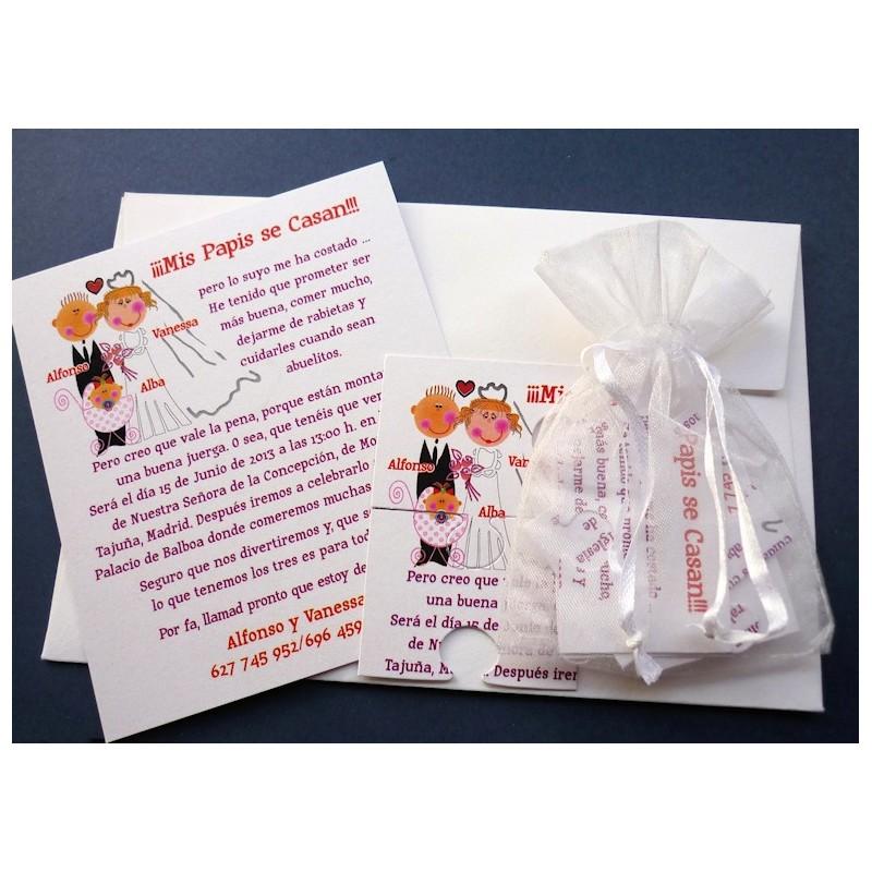 Invitación de boda puzzle familia