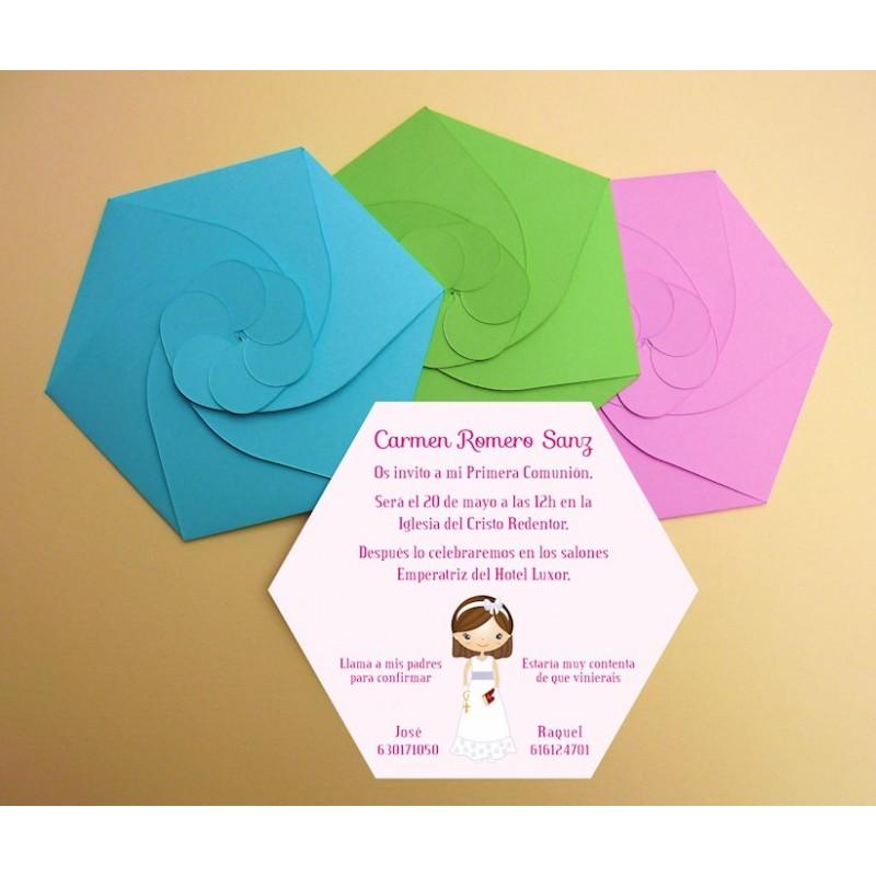 Invitación de comunión hexagonal