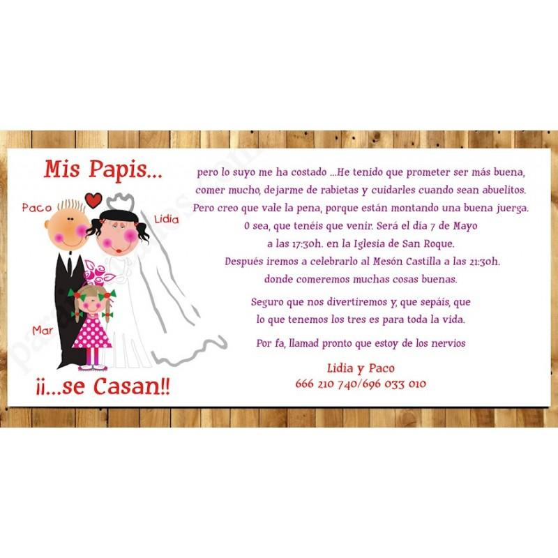 Tarjetón de boda Mis Papis se casan Niña