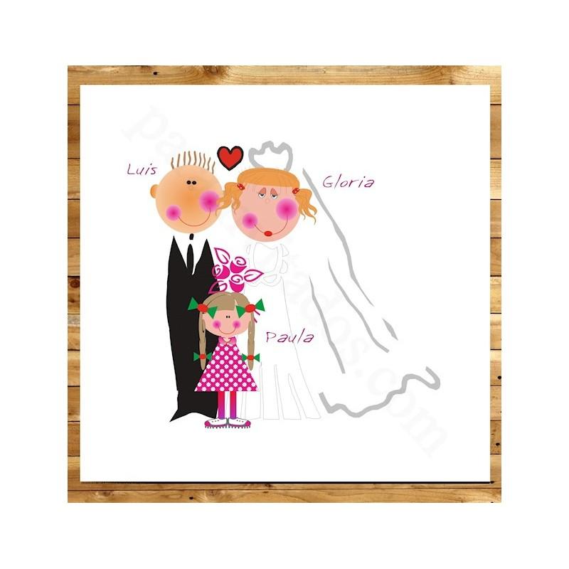 Invitación bodas novios con niña